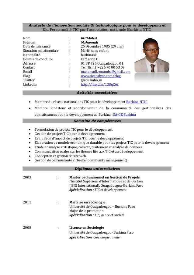 ICT for development (ICT4D) analyst CV