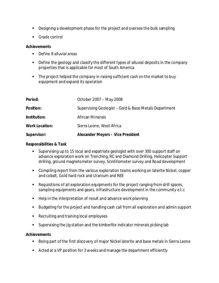 professional geologist resume template 100 original