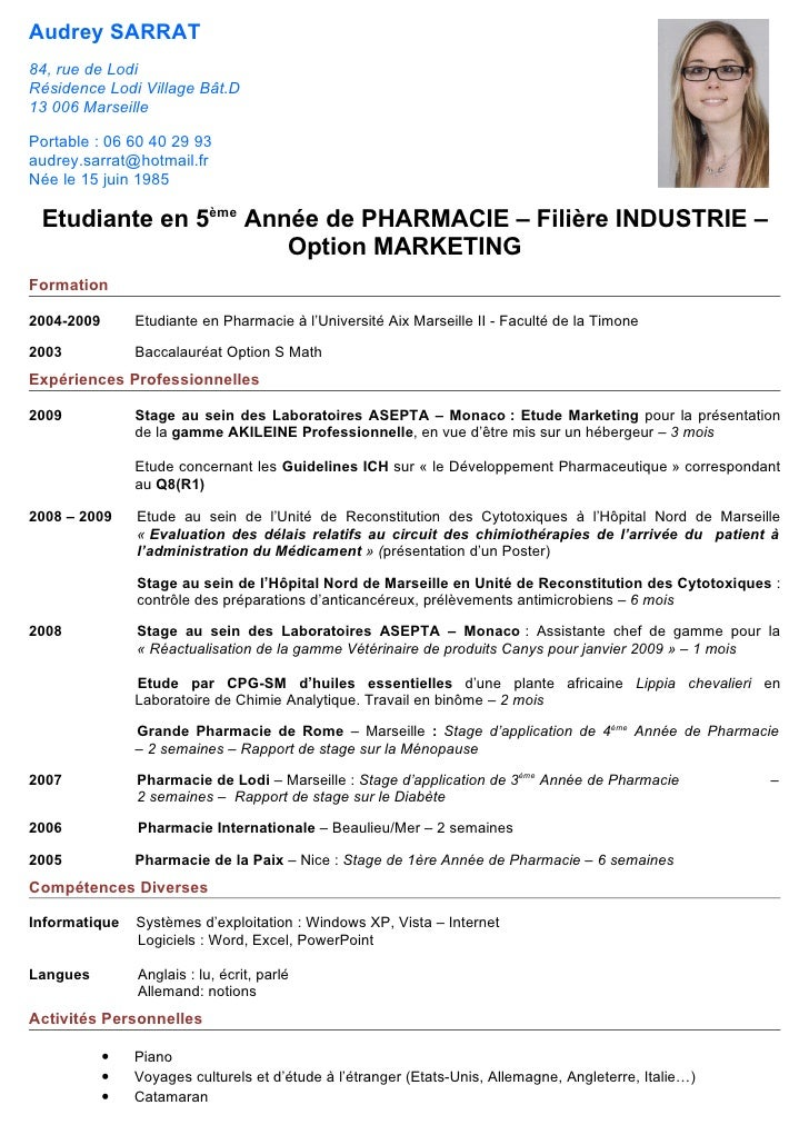 exemple cv pharmacien officine