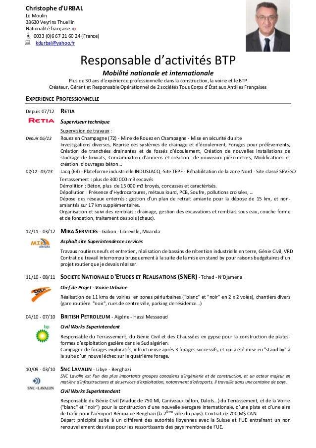 resume format  modele de cv gratuit btp