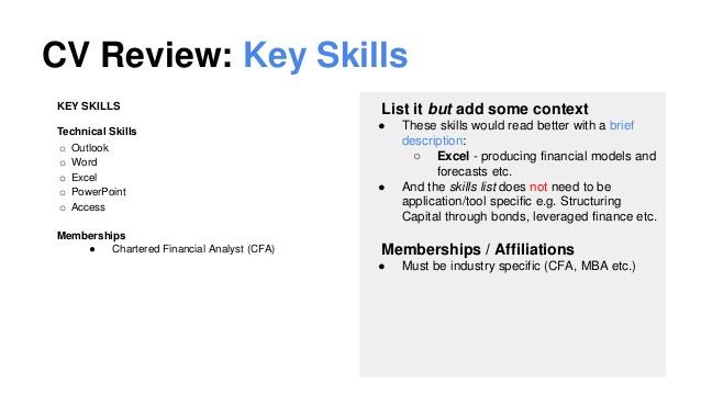 Cv Examples Uk Key Skills