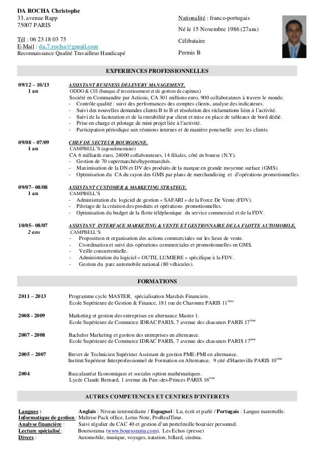 example resume  modele cv anglais finance