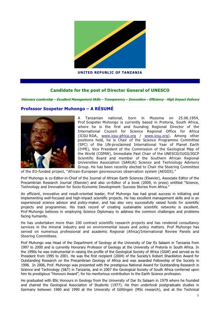 Cv  Abridged 07 July 2009  Prof Sospeter M  Muhongo Unesco Dg Candidate