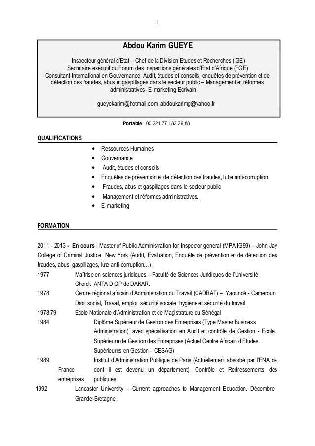 1 Abdou Karim GUEYE Inspecteur général d'Etat – Chef de la Division Etudes et Recherches (IGE) Secrétaire exécutif du Foru...