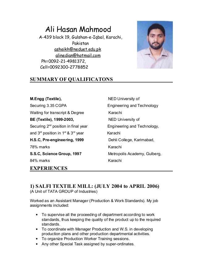 Internship Resume Samples India