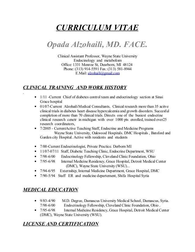 CURRICULUM VITAE Opada Alzohaili, MD. FACE. Clinical Assistant Professor, Wayne State University Endocinology and metaboli...