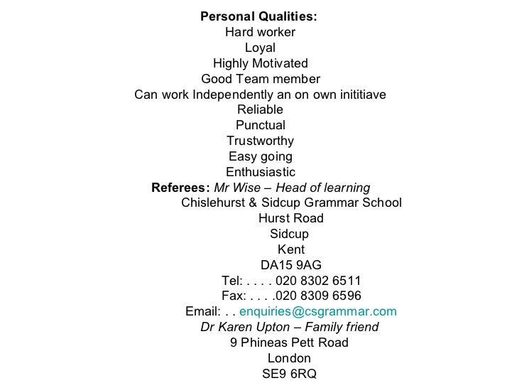 Skills ...  Qualities For Resume