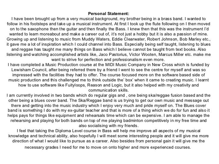 Good personal statement resume