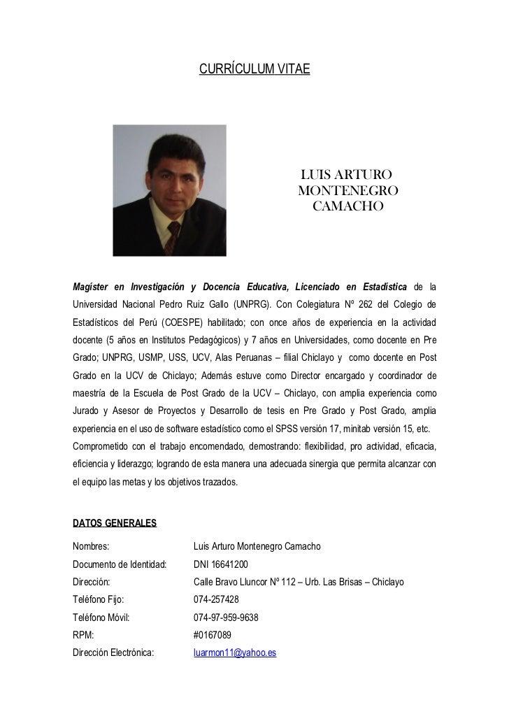 CURRÍCULUM VITAE                                                            LUIS ARTURO                                   ...