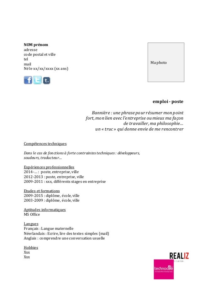 resume format  mod u00e8le cv vierge