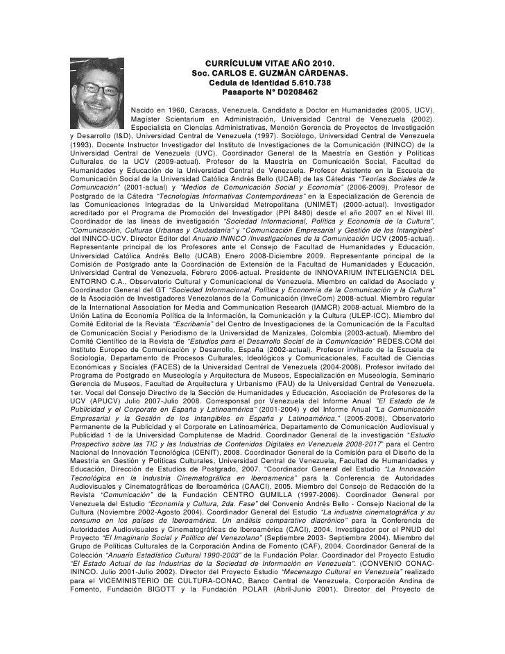 CURRÍCULUM VITAE AÑO 2010.                                    Soc. CARLOS E. GUZMÁN CÁRDENAS.                             ...