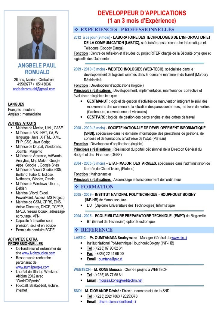 exemple de cv d un developpeur informatique