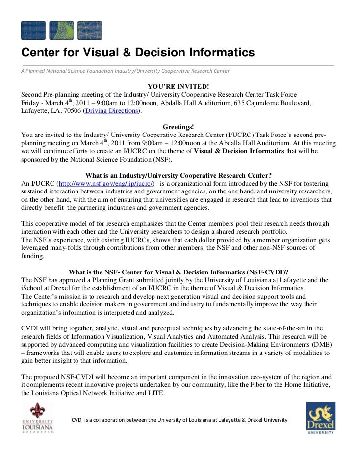 Center for Visual & Decision InformaticsA Planned National Science Foundation Industry/University Cooperative Research Cen...