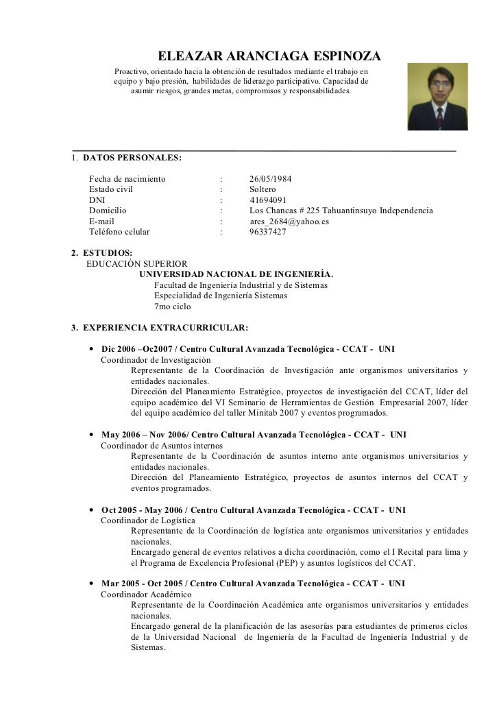 ELEAZAR ARANCIAGA ESPINOZA           Proactivo, orientado hacia la obtención de resultados mediante el trabajo en         ...