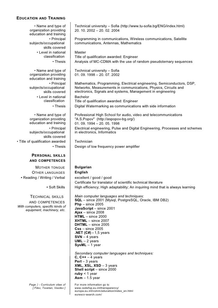 Resume Current Education  Template