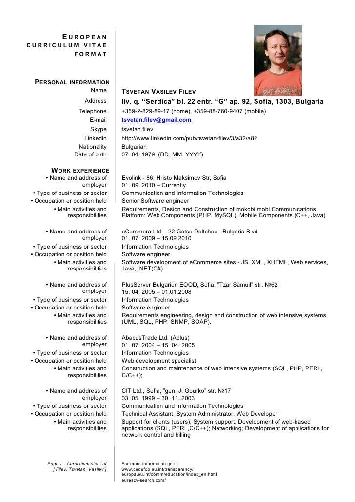 European CV Format Examples