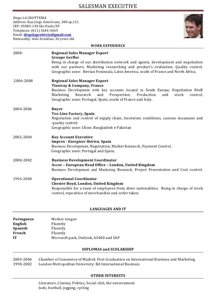 resume format  presentation cv in english