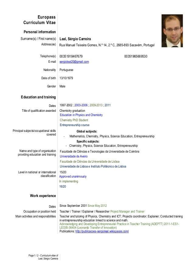 CV europass english Sérgio Leal