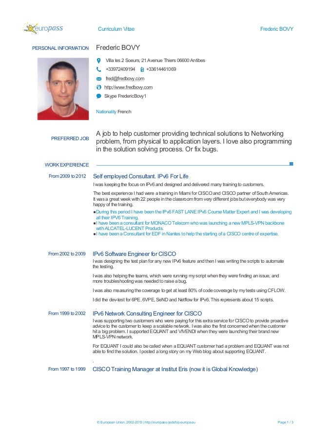 Curriculum Vitae  Frederic BOVY  Frederic BOVY  PERSONAL INFORMATION  Villa les 2 Soeurs, 21 Avenue Thiers 06600 Antibes +...