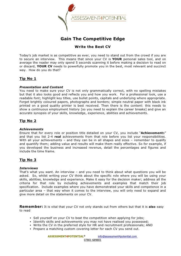 cv guidelines
