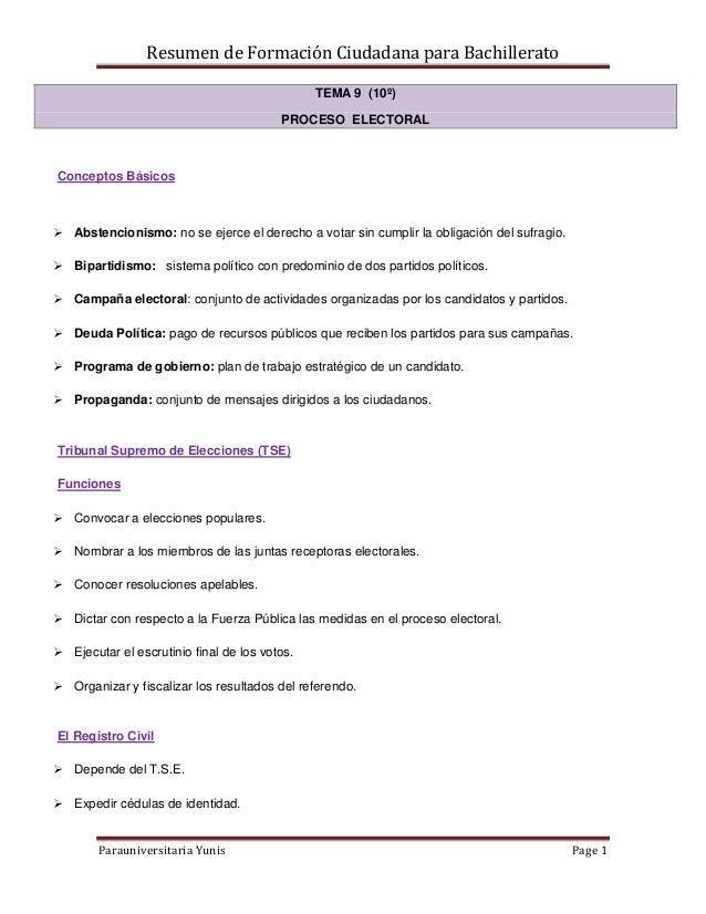 Resumen de Formación Ciudadana para Bachillerato Parauniversitaria Yunis Page 1 TEMA 9 (10º) PROCESO ELECTORAL Conceptos B...