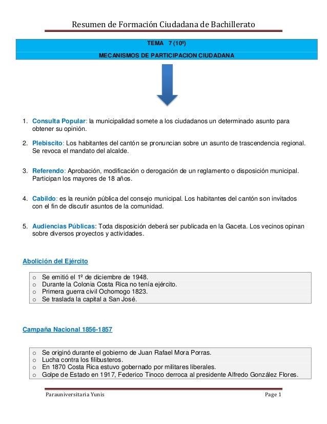 Resumen de Formación Ciudadana de Bachillerato Parauniversitaria Yunis Page 1 TEMA 7 (10º) MECANISMOS DE PARTICIPACION CIU...