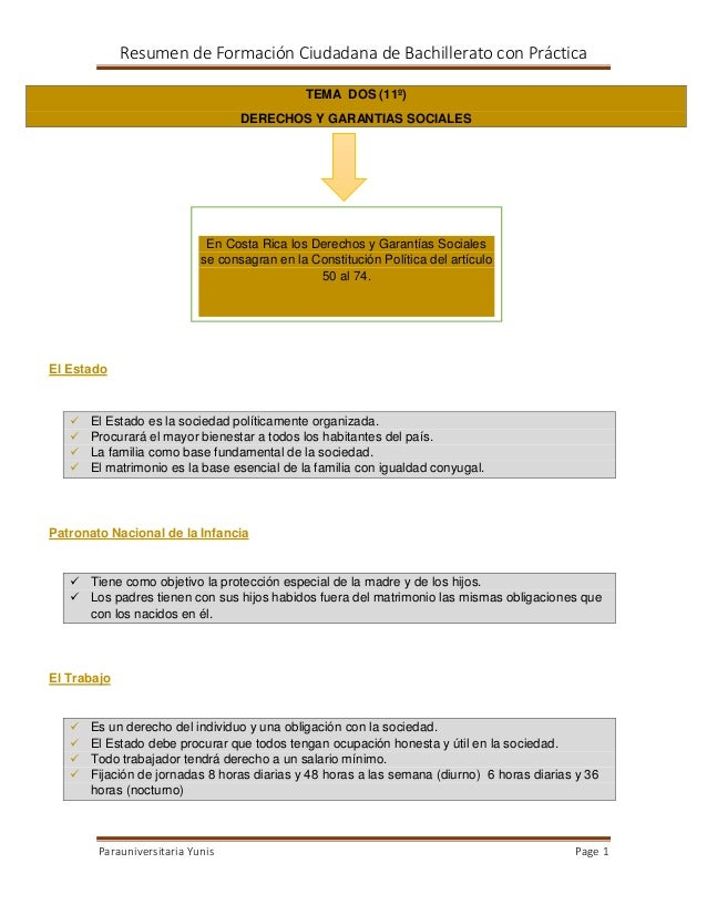 Resumen de Formación Ciudadana de Bachillerato con Práctica TEMA DOS (11º) DERECHOS Y GARANTIAS SOCIALES  En Costa Rica lo...