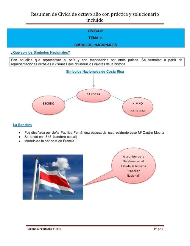 Resumen de Cívica de octavo año con práctica y solucionario                                     incluido                  ...