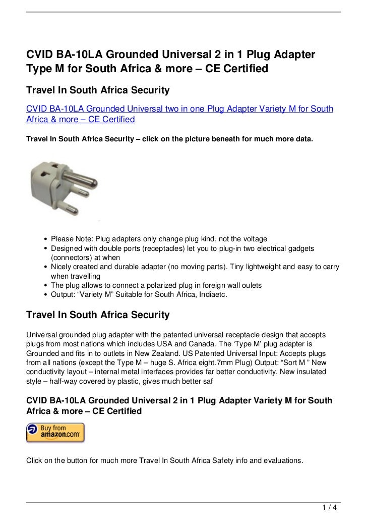 CVID BA-10LA Grounded Universal 2 in 1 Plug AdapterType M for South Africa & more – CE CertifiedTravel In South Africa Sec...