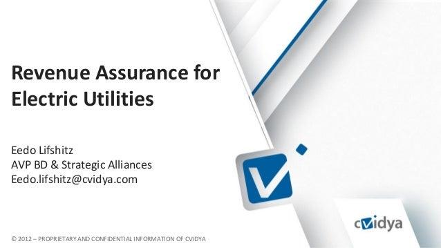 © 2012 – PROPRIETARY AND CONFIDENTIAL INFORMATION OF CVIDYA Revenue Assurance for Electric Utilities Eedo Lifshitz AVP BD ...