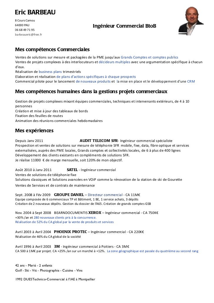 exemple cv ingenieur commercial