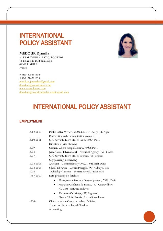 cv international assistant medour djamila