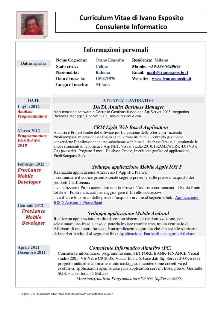 Curriculum Vitae di Ivano Esposito                                                       Consulente Informatico           ...