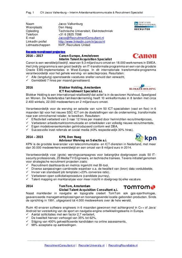 Pag. 1 CV Jacco Valkenburg – Interim Arbeidsmarktcommunicatie & Recruitment Specialist____________________________________...