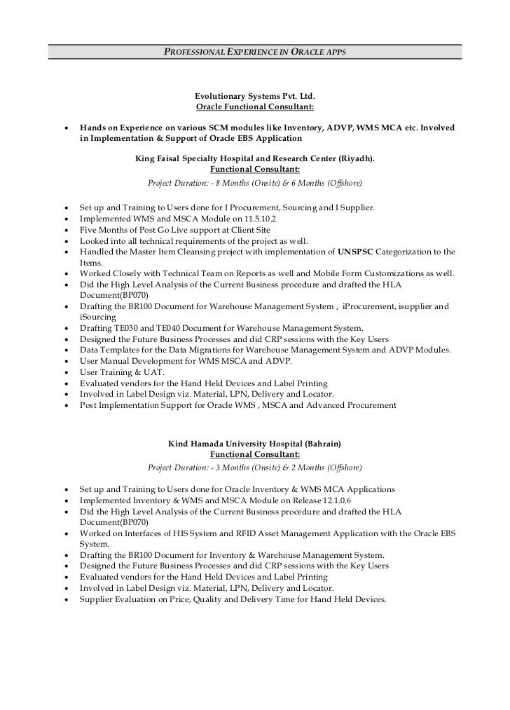 Oracle apps finance functional resume