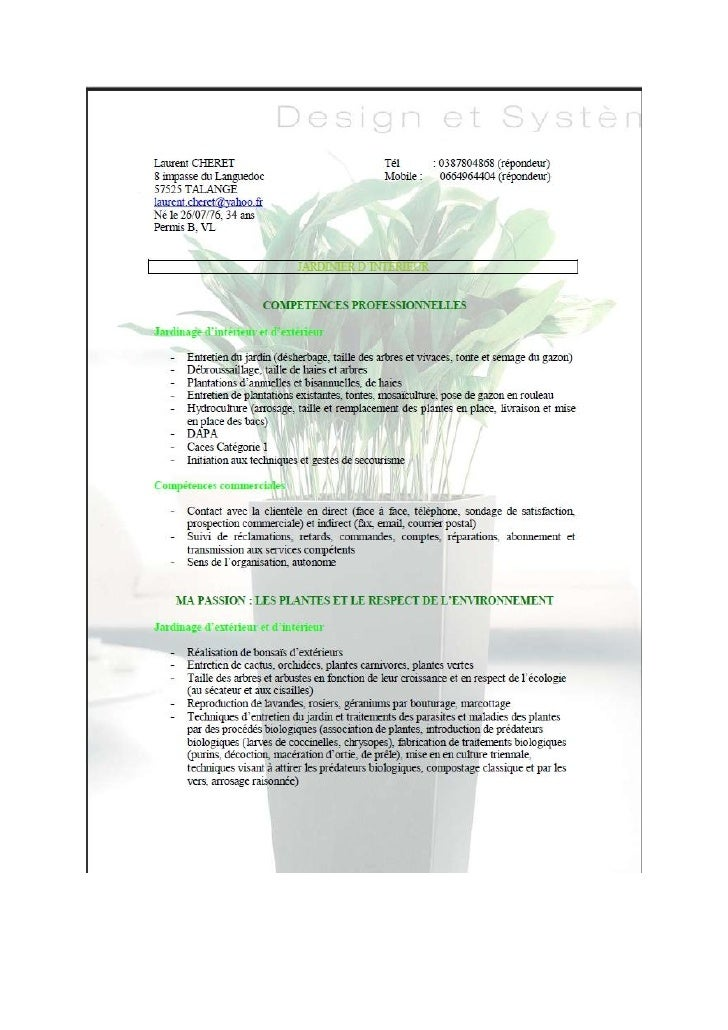 Exemple cv jardinier cv anonyme for Espace vert emploi