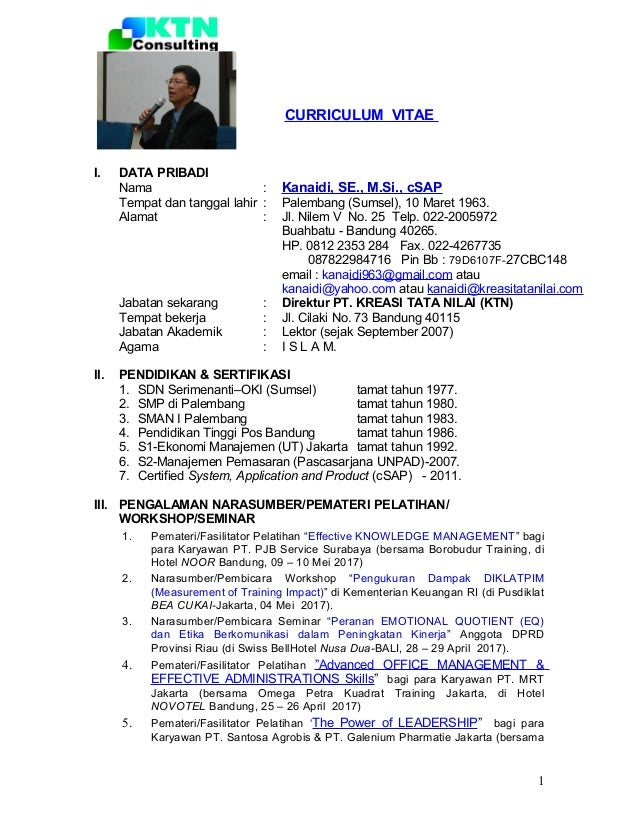 CV Narasumber/Fasilitator/Pemateri  (Kanaidi, SE., M.Si., cSAP)