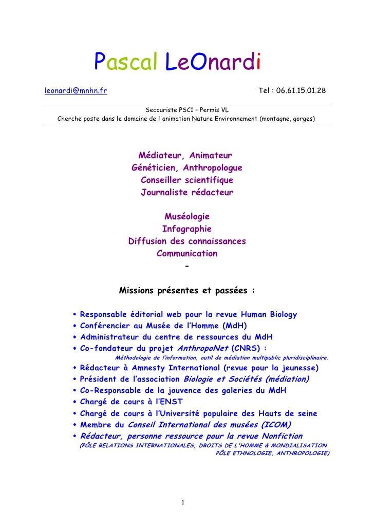 Pascal LeOnardileonardi@mnhn.fr                                                           Tel : 06.61.15.01.28            ...