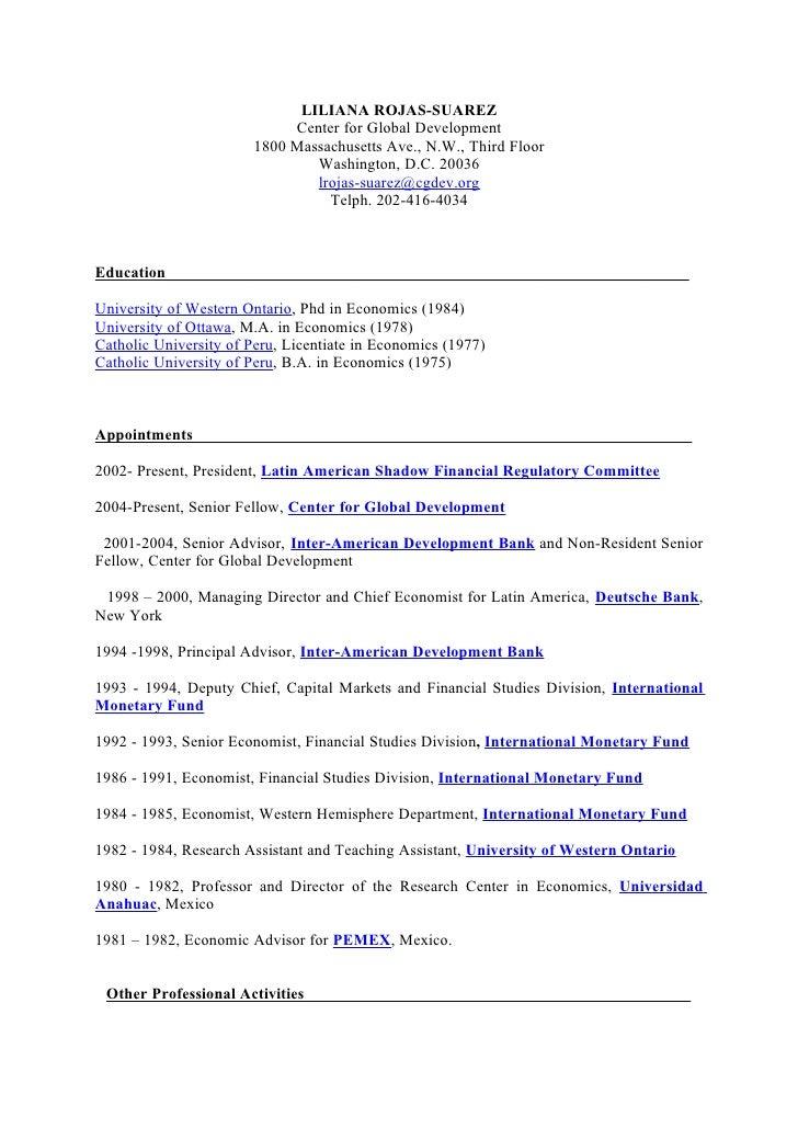 LILIANA ROJAS-SUAREZ                             Center for Global Development                        1800 Massachusetts A...