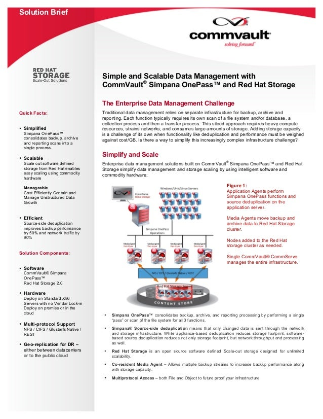 Solution Brief Quick Facts: • Simplified Simpana OnePass™ consolidates backup, archive and reporting scans into a single p...