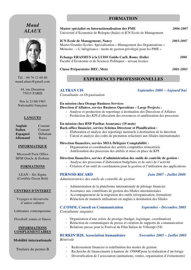 exemple cv directeur financier