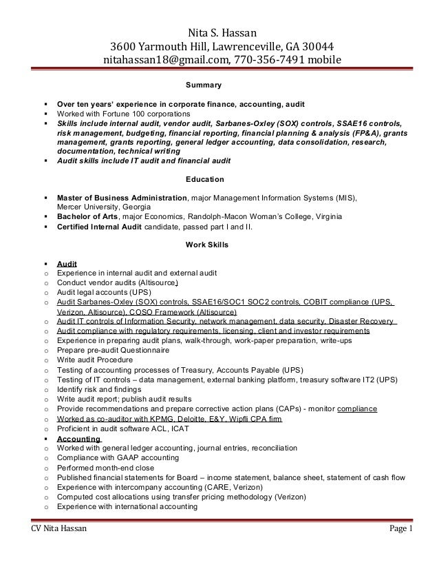 Certified internal auditor sample resume