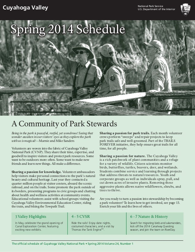 NostalgicOutdoorsTM- Cuyahoga Valley NP- Sping 2014 Schedule