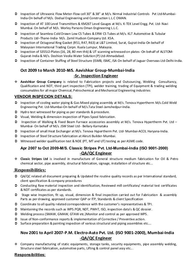 welding inspector resume fire safety inspector cv