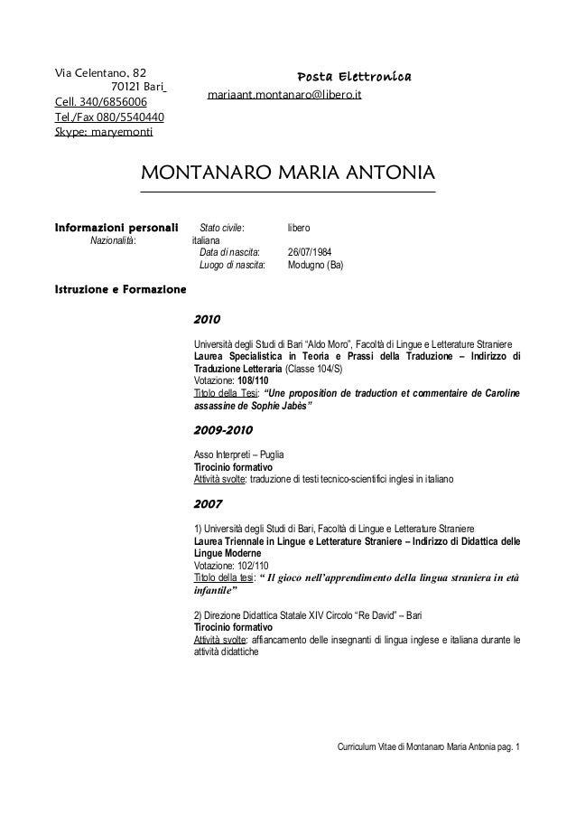 Via Celentano, 82 70121 Bari Cell. 340/6856006 Tel./Fax 080/5540440 Skype: maryemonti  Posta Elettronica  mariaant.montana...