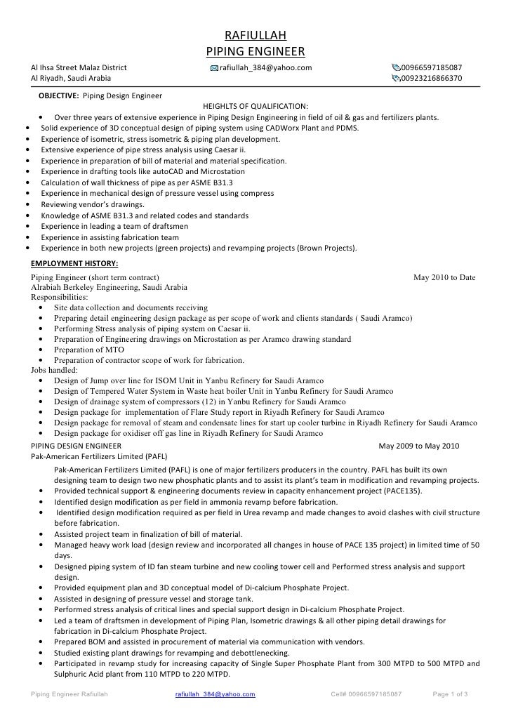 Piping draftsman resume format