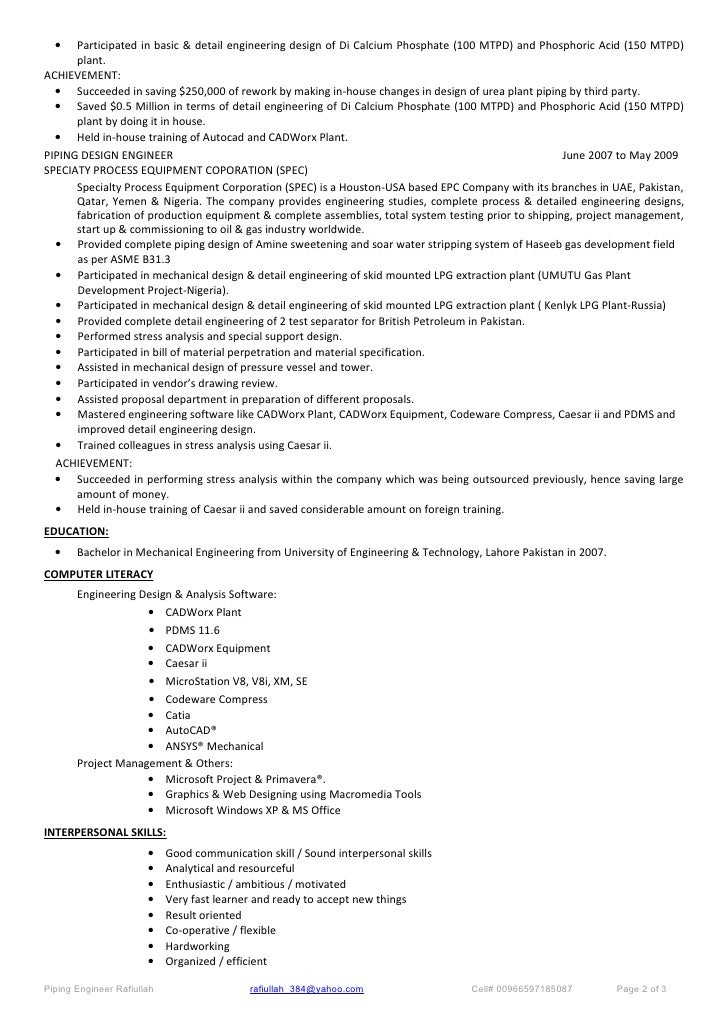 sample resume piping designer job description engineer
