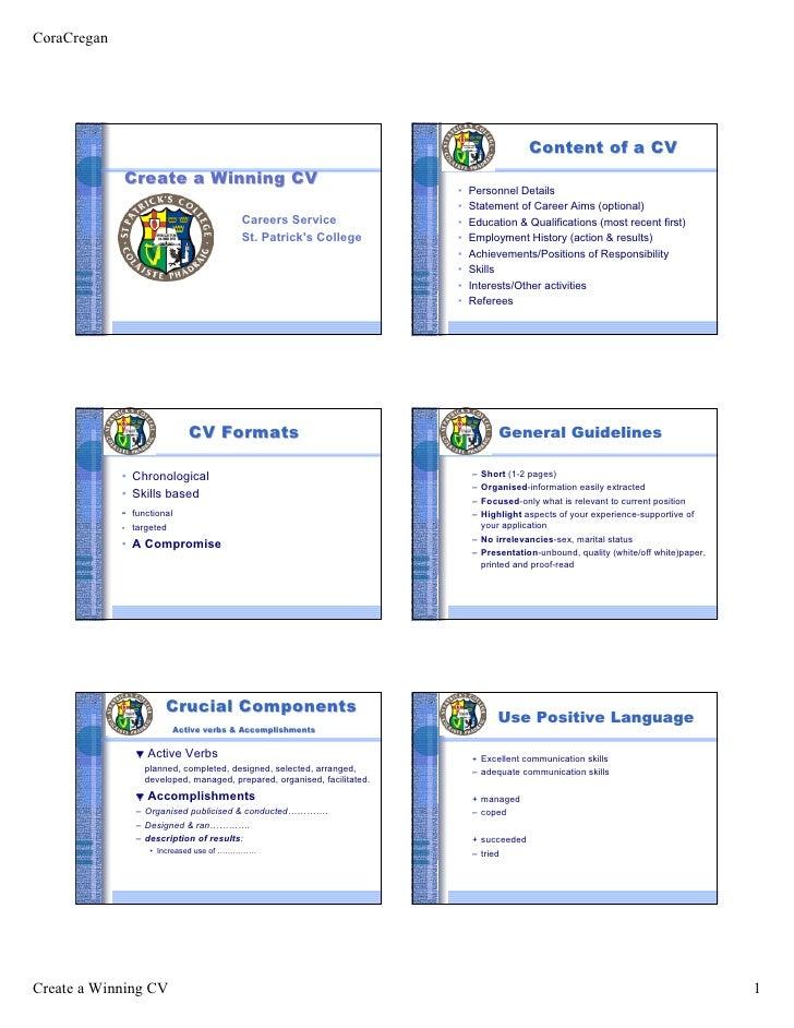 CoraCregan                                                                                                 Content of a CV...