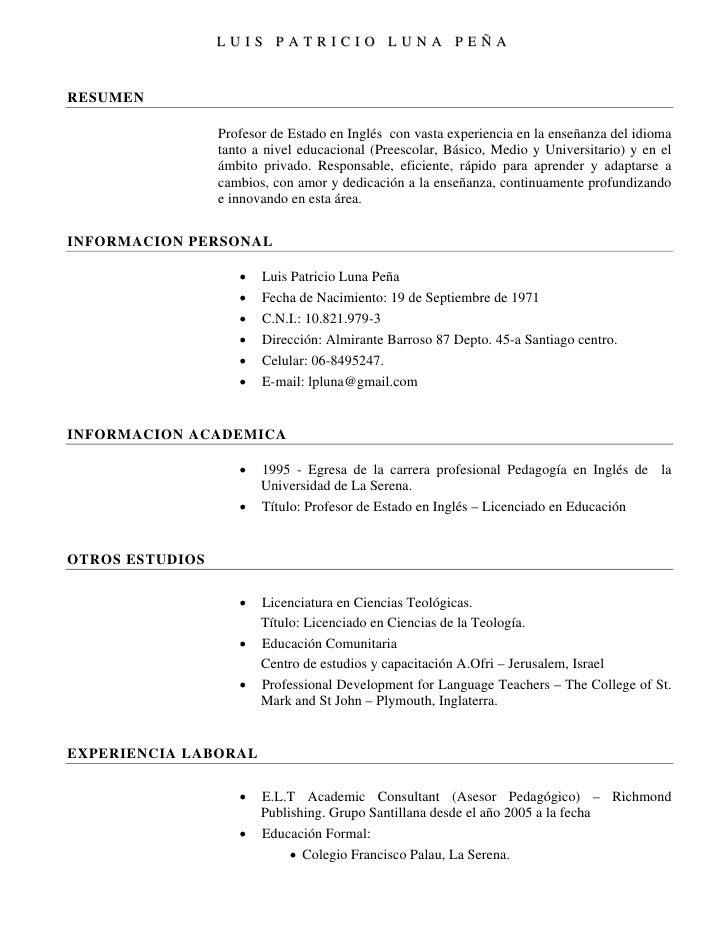 Curriculum Vitae En Ingles – I Started