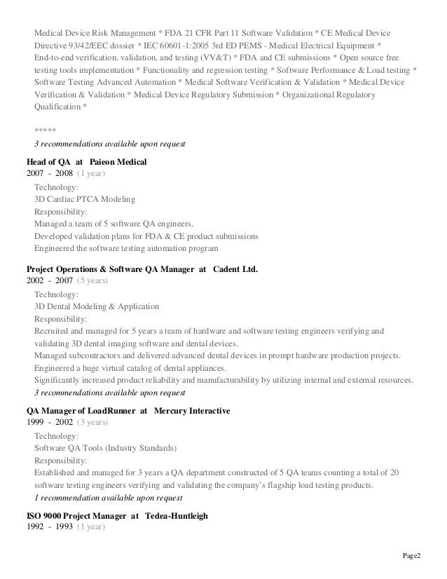 CV Resume - Shay Ginsbourg - Regulatory & Testing Affairs ...